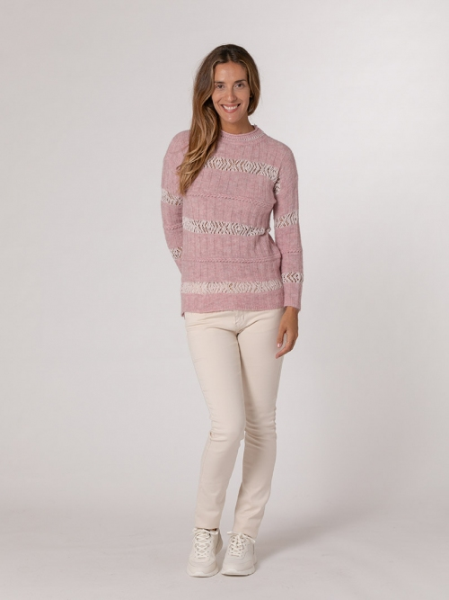 Round neck cotton wool sweater Pink