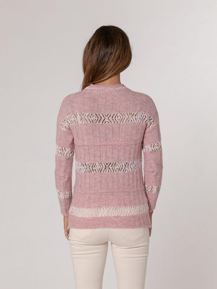 Jersey mujer cuello redondo lana algodón Rosa