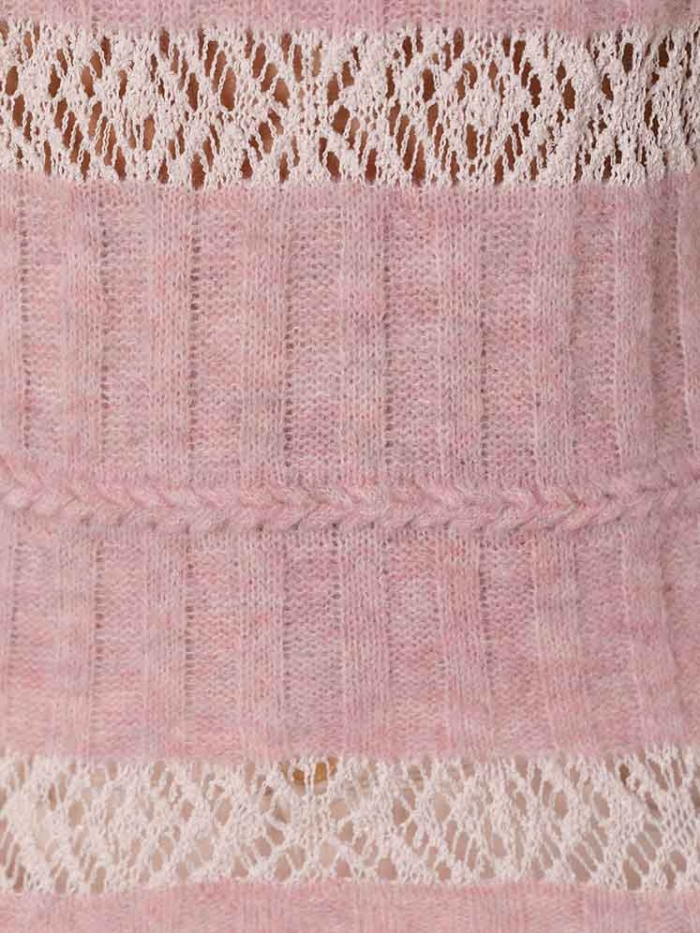 Woman Woman Round neck cotton wool sweater Pink