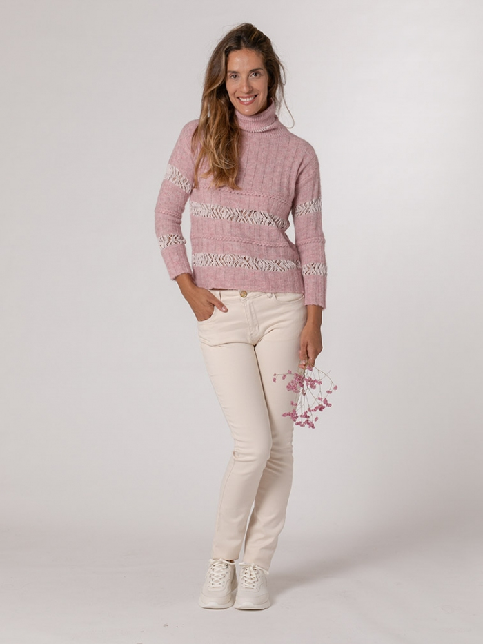 Woman Striped high neck sweater Pink