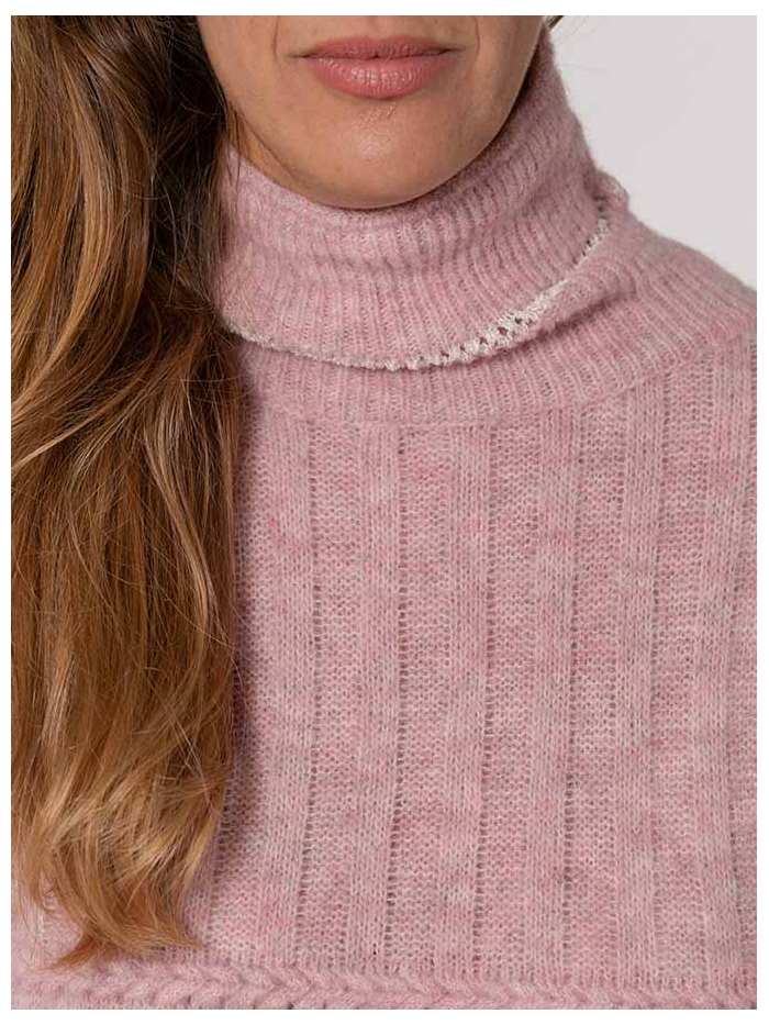 Jersey mujer cuello alto franjas Rosa