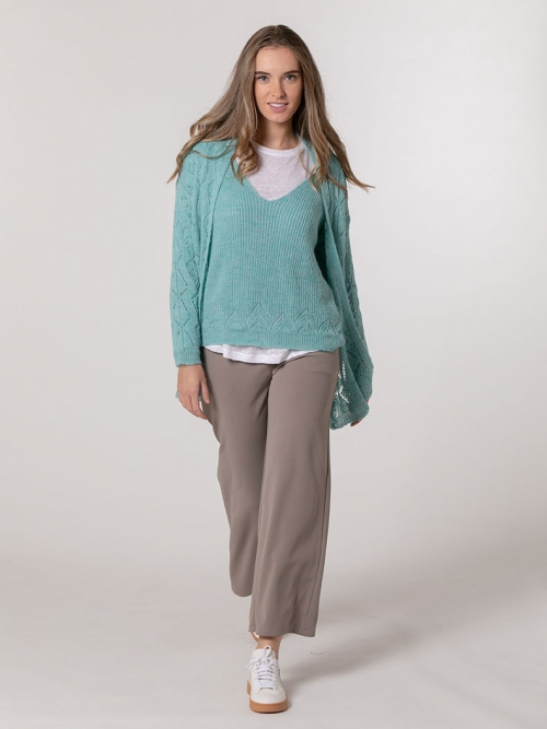 Woman Herringbone wool jacket Turquoise
