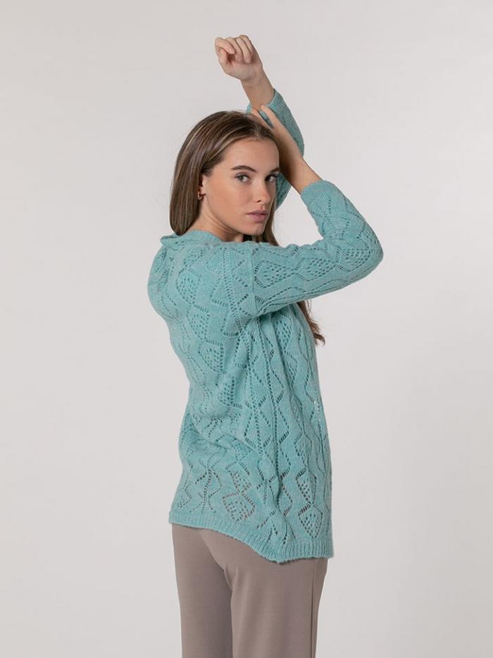 Chaqueta mujer de lana espiga Turquesa