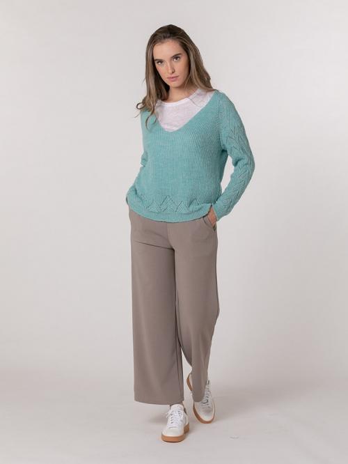 Woman Herringbone knit sweater Turquoise