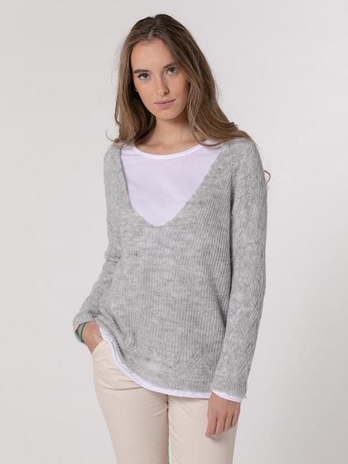 Herringbone knit sweater Grey