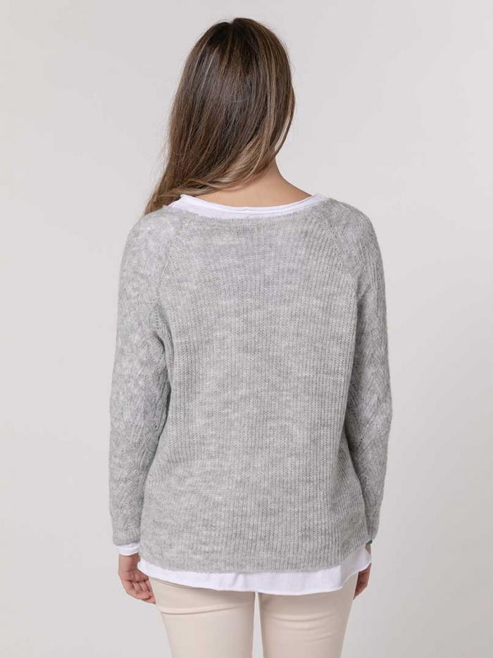 Woman Herringbone knit sweater Grey