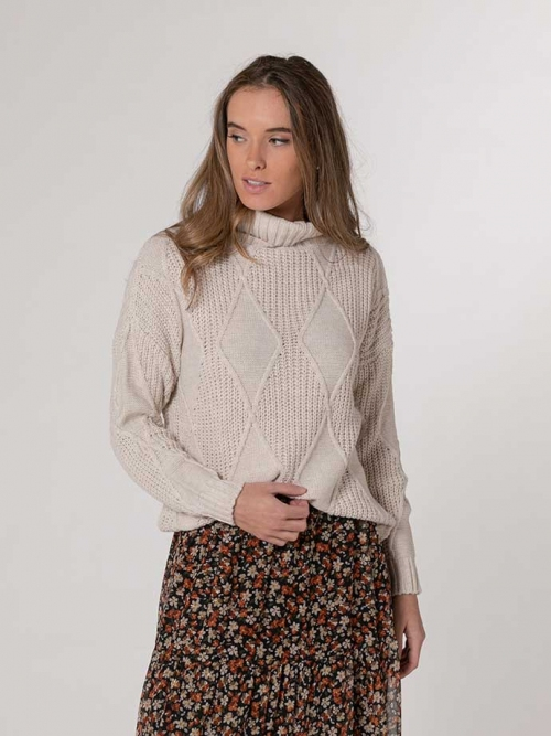 Rhombus print high neck sweater Beige