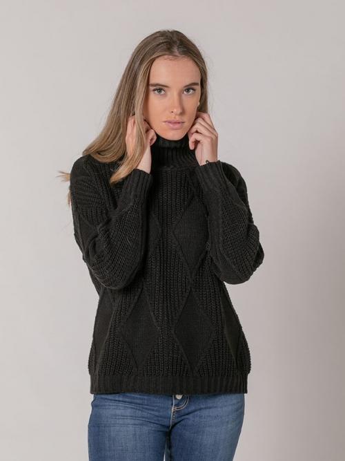 Rhombus print high neck sweater Black