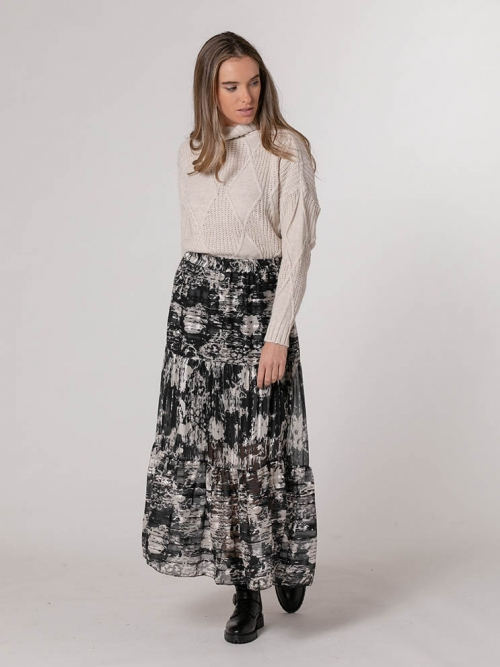 Glitter print skirt Black