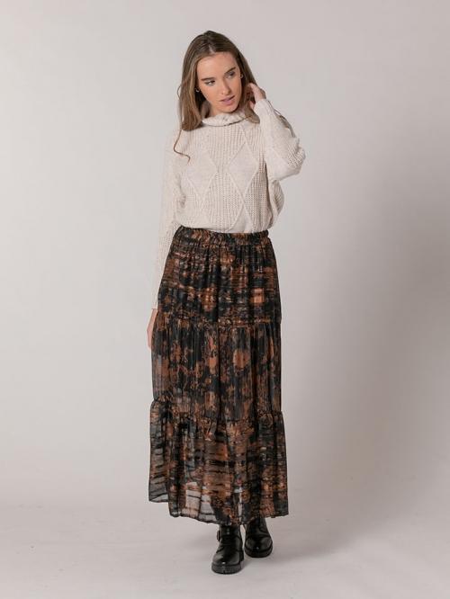 Falda estampada brillo Camel