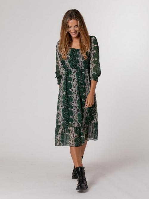 Vestido estampado animal Verde