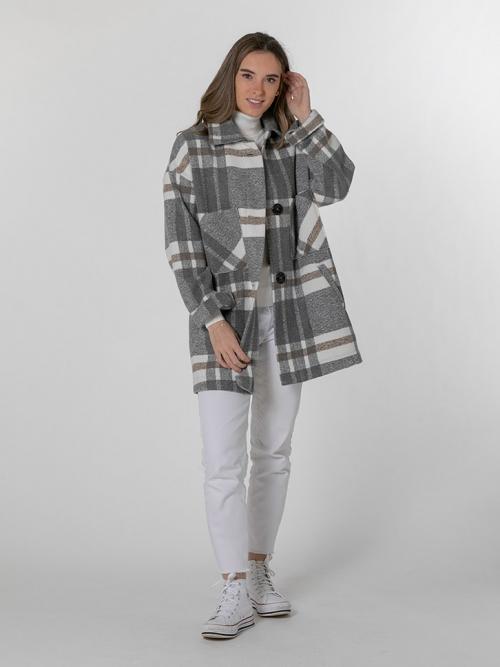 Abrigo especial cuadros 4 bolsillos Gris