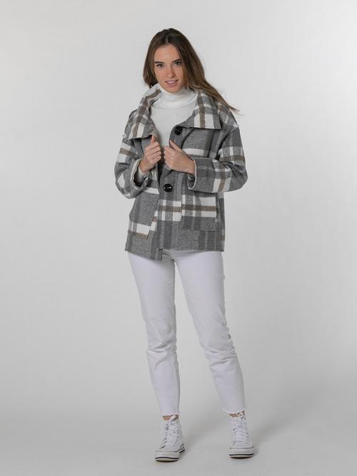 Short checked coat Grey