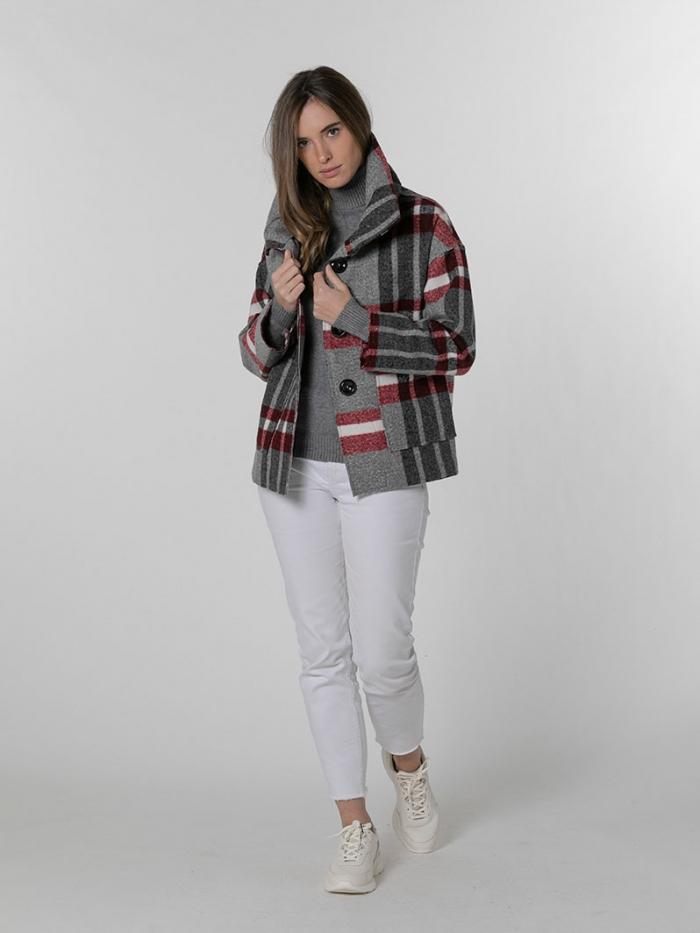 Short checked coat Granate
