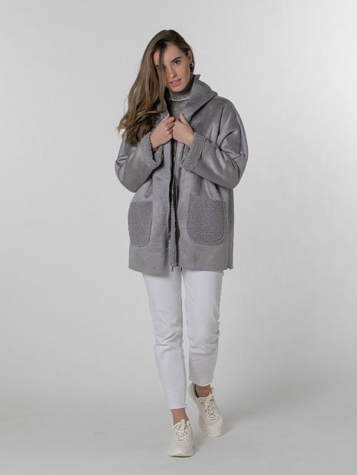 Warm plain coat with hood Grey