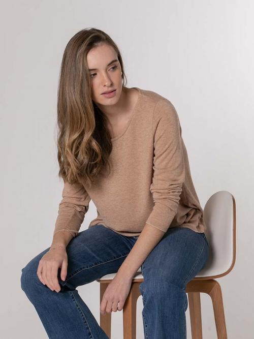 Camiseta suave mujer Camel