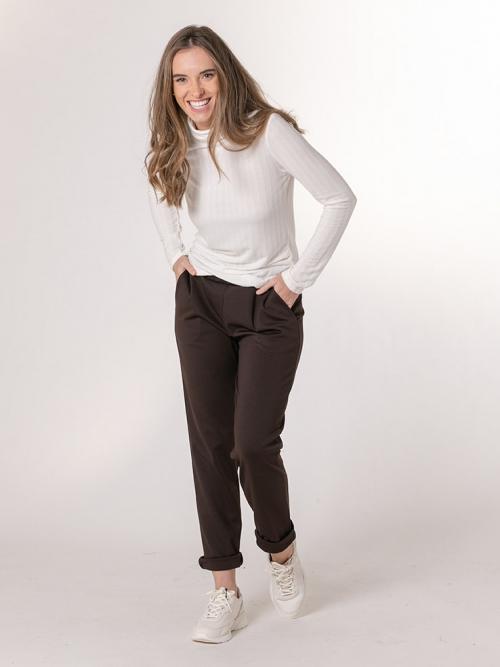 Pantalón casual elástico Marrón