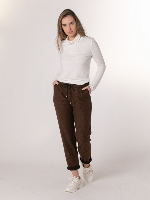 Sport pants with leatherette detail Tile