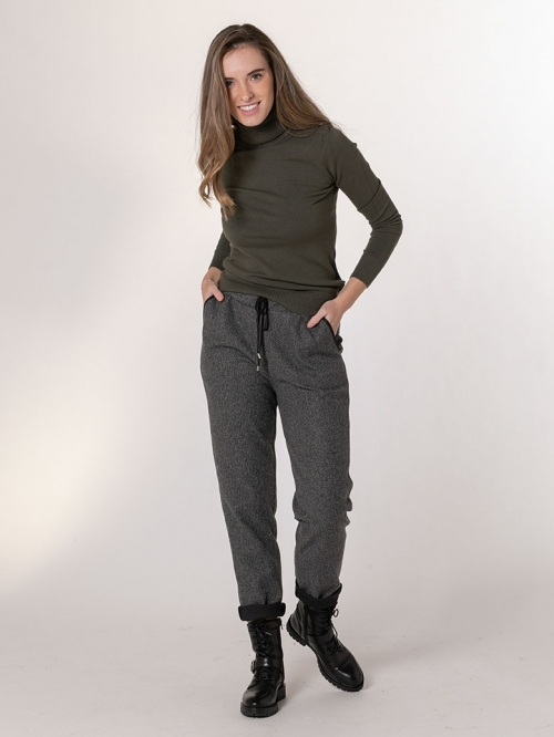 Pantalón sport detalle polipiel Gris