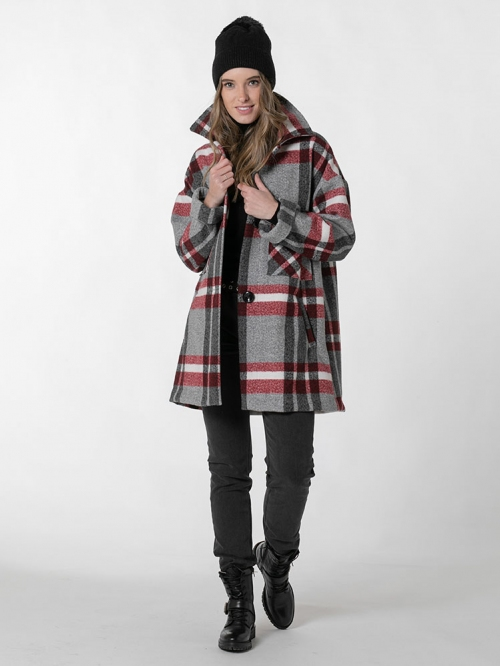 Special check coat Red