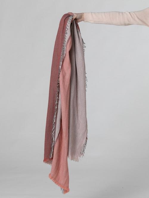 Bufanda lana con flecos Teja