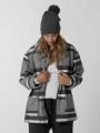Checked hooded coat Black