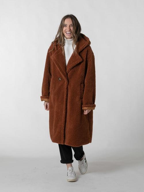 Abrigo largo borrego capucha Camel