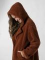 Long hooded shearling coat Camel