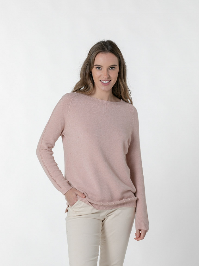 Round neck pearl sweater Pink