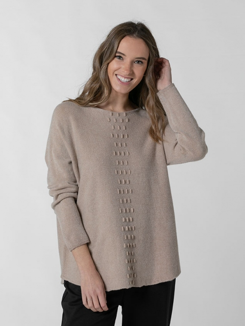 Women central detail knit sweater Camel