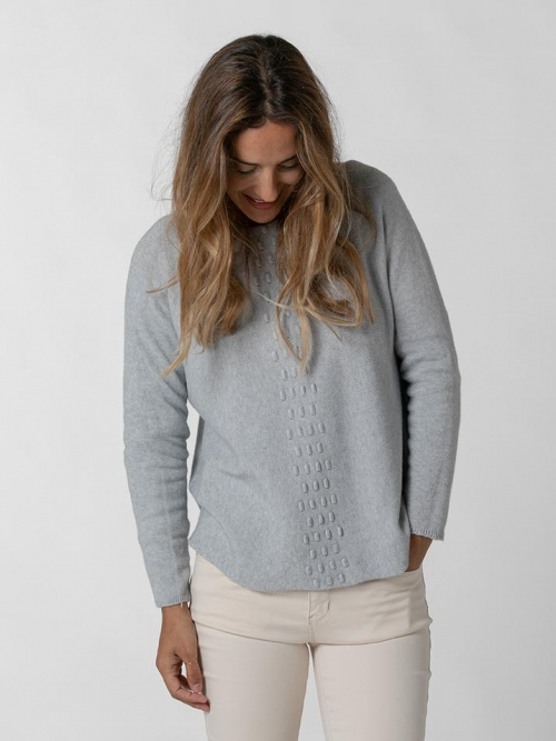 Jersey punto detalle central mujer Gris Claro