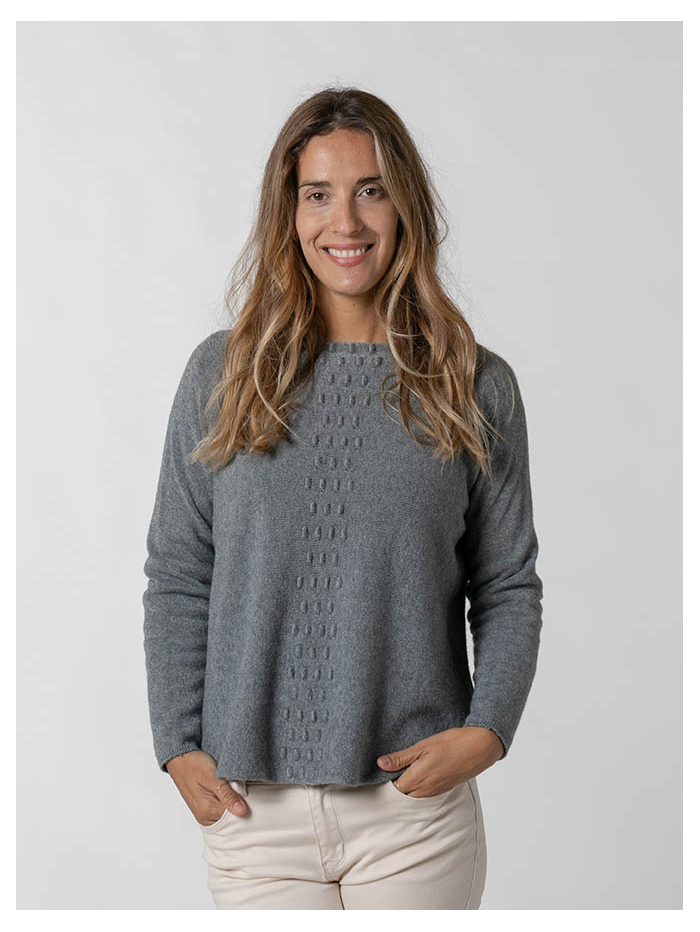 Women central detail knit sweater Grey