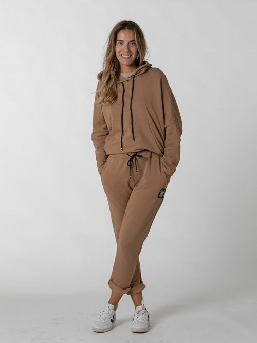 Organic sandalwood sports trousers Beige