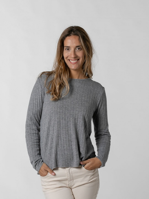 Camiseta confort canalé mujer Gris