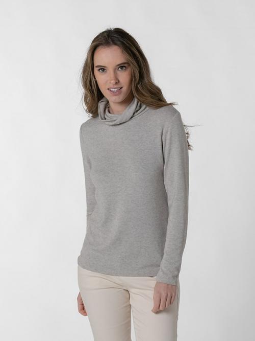 Jersey fino cuello alto mujer Beige