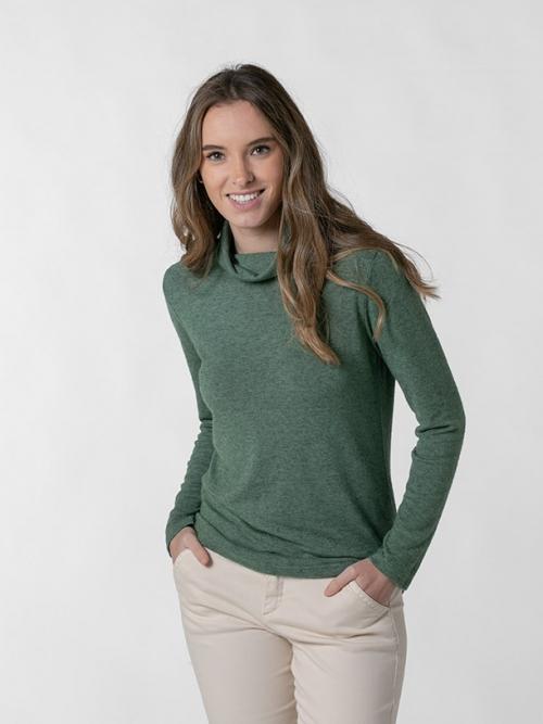 Jersey fino cuello alto mujer Verde