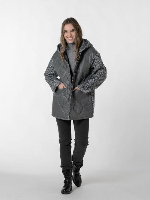 Women padded hooded coat Grey