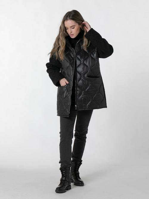 Women padded hooded coat Black