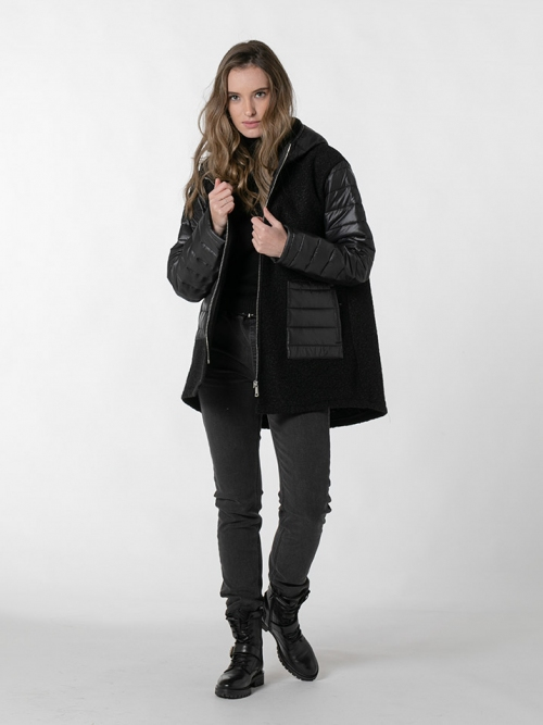 Two-fabric down jacket with hood Black