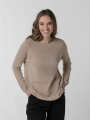 Round neck pearl sweater Camel