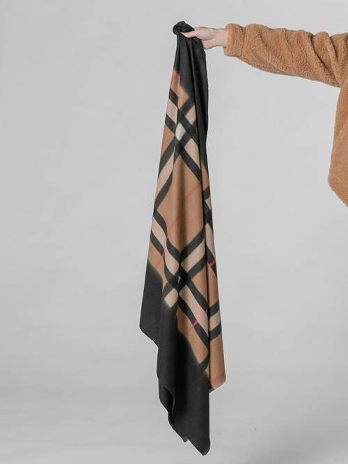 Woman Burberry plaid scarf Camel