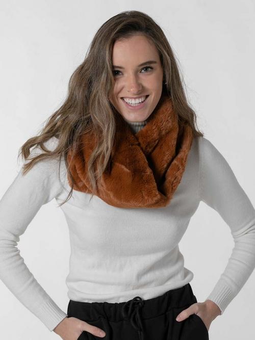 Woman classic fur collar Caramelo