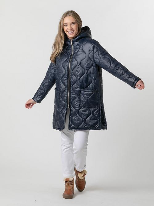 Abrigo acolchado invierno con capucha Azul Marino