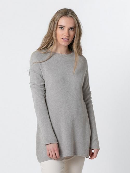 Round neck knit sweater Beige
