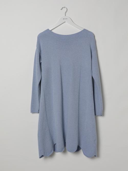 Vestido punto suave bajo irregular Azul Celeste