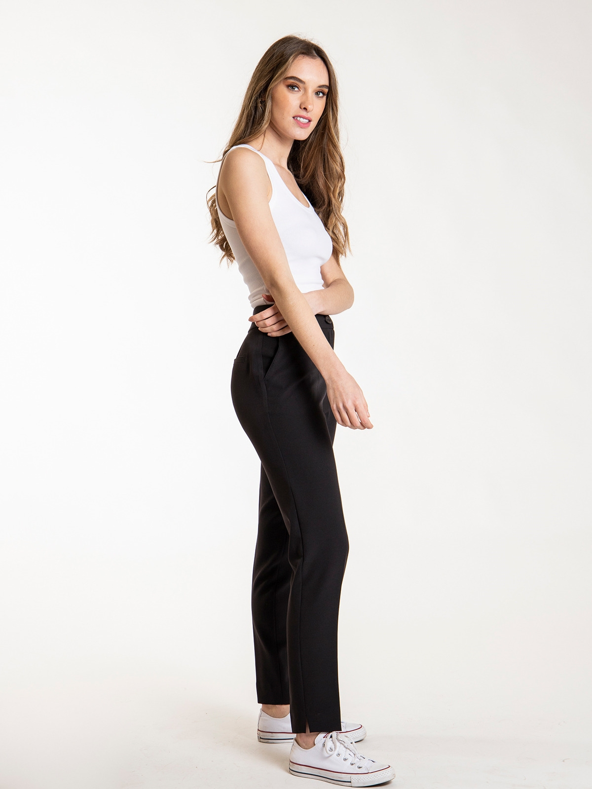 Woman Woman High rise pants with pockets Black