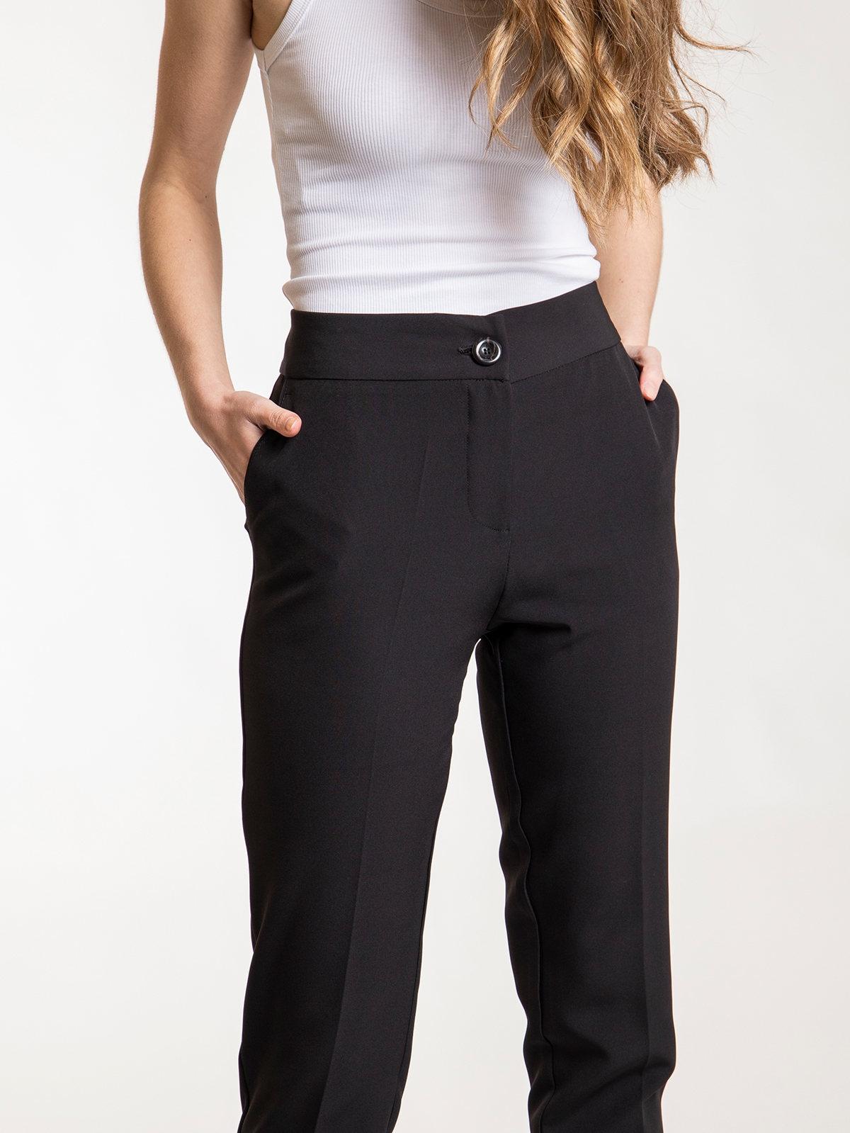 Pantalón mujer tiro alto bolsillos Negro