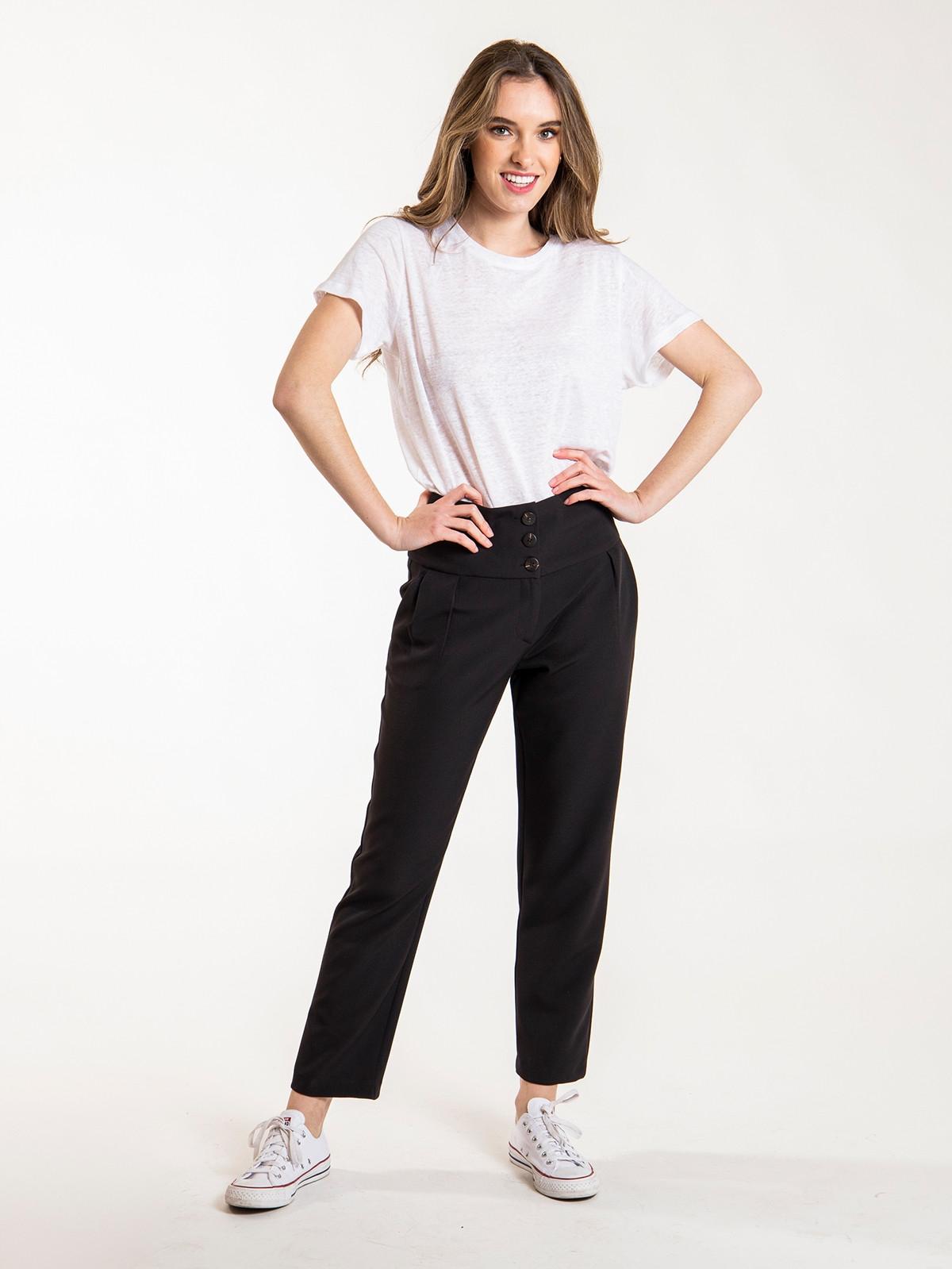 Pantalón mujer botones tiro alto Negro