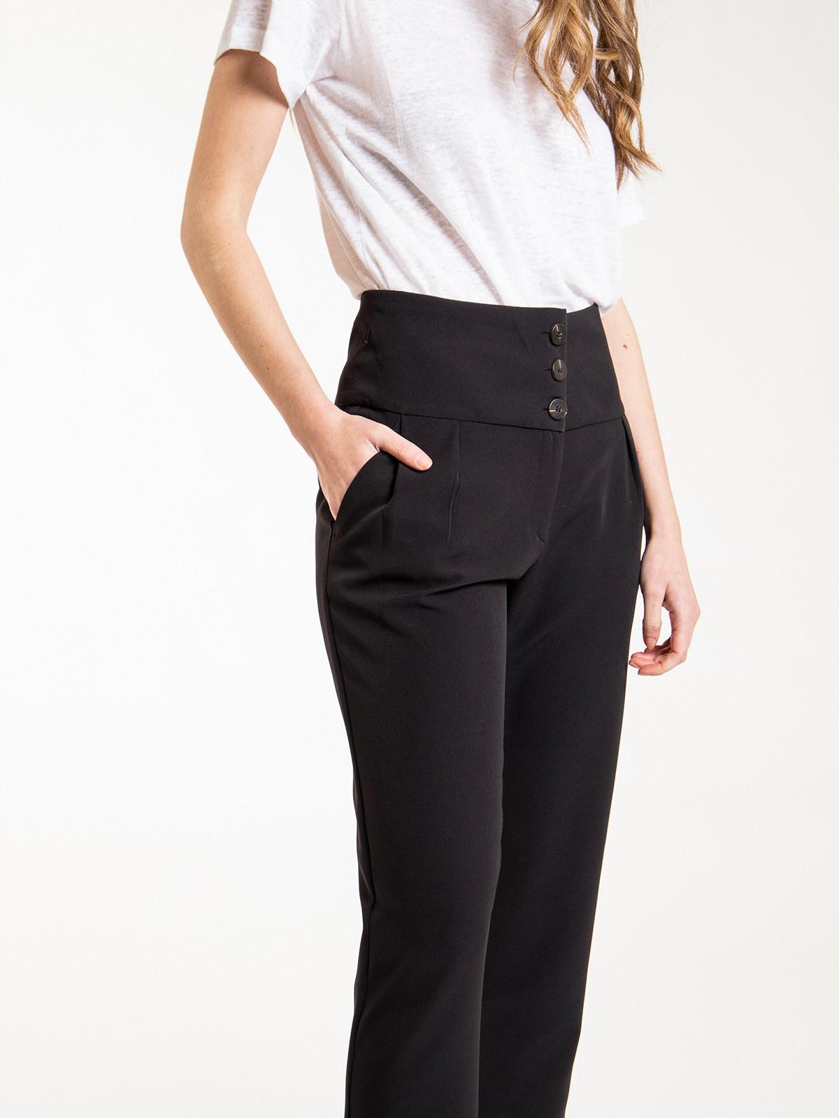 Woman high rise button pants Black