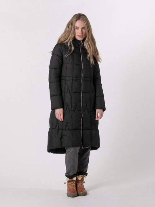 Woman Long hooded down jacket Black